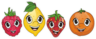 Visages de quatre fruits Photographie stock libre de droits