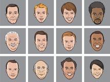 Visages de sourire d'hommes d'avatar de bande dessinée illustration libre de droits