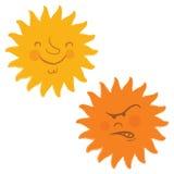 Visages de Sun, rétro type de dessin animé Photographie stock libre de droits