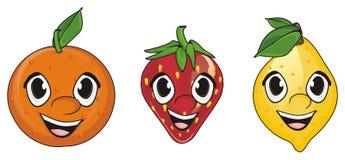 Visages de trois fruits Photographie stock