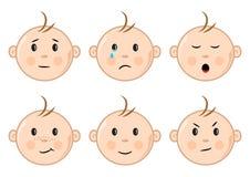 Visages des enfants avec différentes émotions Illustration de vecteur illustration de vecteur