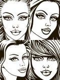 Visages des filles illustration stock