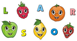 Visages des fruits Image stock