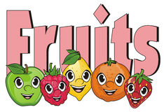 Visages des fruits avec des symboles Photo libre de droits