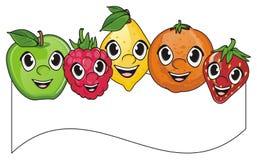 Visages des fruits avec le ruban Photographie stock