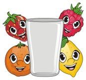 Visages des fruits avec le verre Photos stock
