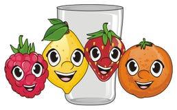 Visages des fruits avec le verre Images libres de droits