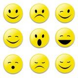 Visages drôles émotifs de visages, de jaune, de sourire, drôles et tristes illustration stock