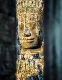 Visages en pierre au temple de bayon dans Siem Reap, Cambodge 9 Images libres de droits