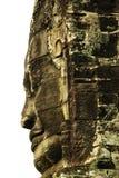 Visages en pierre découpés au temple antique dans Angkor Vat, Cambodge Images libres de droits