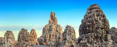 Visages en pierre de temple de Bayon, Angkor, Cambodge photos libres de droits