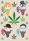 Visages et marijuana masculins illustration de vecteur