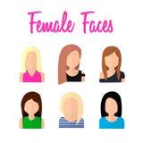 Visages femelles dans la conception plate Image stock