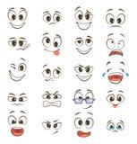 Visages heureux de bande dessinée avec différentes expressions vecteur prêt d'image d'illustrations de téléchargement illustration stock