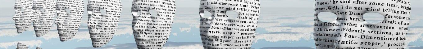 Visages Humanlike couverts en texte illustration libre de droits