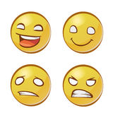 Visages jaunes avec des émotions Photographie stock