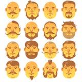 16 visages jaunes humains avec la coiffure différente et la barbe illustration libre de droits