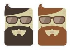 Visages masculins de bande dessinée de vecteur avec des barbes de hippie Images stock