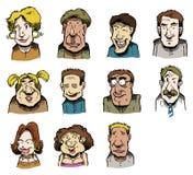 Visages multiples illustrés Photos libres de droits