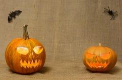 Visages rougeoyants effrayants de potirons Potirons effrayants de Halloween d'isolement sur un fond de toile de jute Images libres de droits