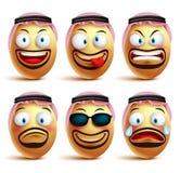 Visages saoudiens d'oeufs d'homme réglés du port de vecteur agal et de la robe de ghutrah ou de tête Photo libre de droits