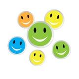 Visages souriants de couleur avec la réflexion Images stock