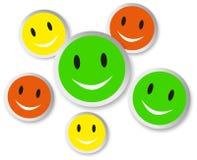 Visages souriants de couleur avec la réflexion Photos libres de droits