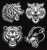 Visages tirés par la main noirs et blancs d'animal de style de tatouage Images libres de droits