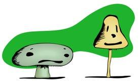 Visages tristes et heureux de champignon de couche Photos libres de droits