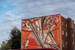 VISAGINAS, LITAUEN - 23. SEPTEMBER 2017: Visaginas-Gebäude-Architektur mit Malerei auf Wand Lizenzfreie Stockfotos