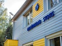 Visaginas Lituânia 1º de outubro de 2018: Construção do estação de caminhos-de-ferro de Gelezinkelio Stotis nos visaginas lithuan fotos de stock royalty free