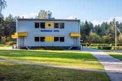 Visaginas Lituânia 1º de outubro de 2018: Construção do estação de caminhos-de-ferro de Gelezinkelio Stotis nos visaginas lithuan fotografia de stock royalty free