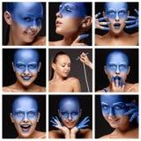 Visagist making makeup l with aerograph or Stock Photography