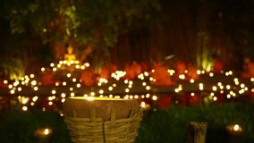 Visakha Bucha Day, candles in religious ceremony, Chiang mai Thailand. stock video