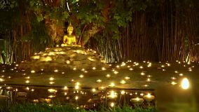 Visakha Bucha Day , candles in religious ceremony ,Chiang mai Thailand. stock video