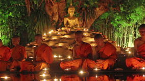 Visakha Bucha Day. CHIANG MAI THAILAND - JUNE 1 : Visakha Bucha Day is the most important incidents Buddhist day. Buddhist monk fire candles to the Buddha. Jun 1