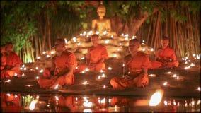 Visakha Bucha Day , Chiangmai, Thailand. (dolly left shot) stock video