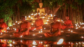 Visakha Bucha Day , Chiangmai, Thailand. (dolly left shot). CHIANG MAI THAILAND - MAY 20 : Visakha Bucha Day is the most important incidents Buddhist day stock video