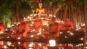 Visakha Bucha Day , Chiangmai, Thailand. (dolly shot) stock footage