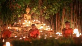Visakha Bucha Day , Chiangmai, Thailand. (dolly shot) stock video footage