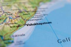 Visakhapatnam на карте Стоковое Изображение RF
