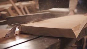 Visant la longueur d'une circulaire a vu dans le processus Le charpentier scie le bois, faisant la forme Mouvement lent de la pou banque de vidéos