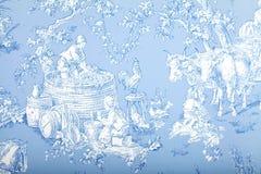 Visar den blåa och vita franska barocka modelltapeten för antikviteten royaltyfri fotografi