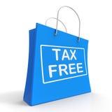 Visar den fria shoppingpåsen för skatt ingen arbetsuppgiftskatt Fotografering för Bildbyråer