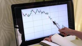 Visar en graf på datorbildskärmen och tar anmärkningar i en anteckningsbok lager videofilmer