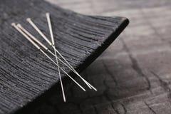 Visare för akupunktur och special ställning arkivbild