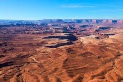 VisarFörbise-kanjonen Rims fritids- område BLM land-Utah Arkivfoto