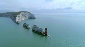 Visarna på ön av wighten från luften arkivfilmer