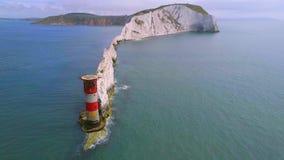 Visarna på ön av wighten från luften stock video
