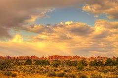 Visarområde av den Canyonlands nationalparken i Utah Royaltyfri Bild
